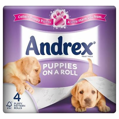 6 x Andrex Puppies on a Roll Toilet Tissue Rolls - 210 Sheets per Roll (4)