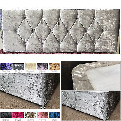 Crushed Velved Diamond Headboard + Matching Elasticated Bed Valance Bed Wrap