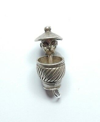 Rare Vintage Charm Chinese Man In Laundry Basket Pop Up 925 Sterling Silver 5.9g