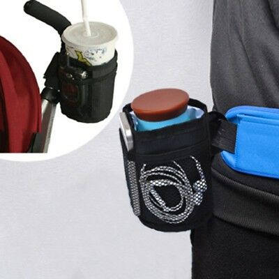 Baby Buggy Cup Bottle Holder Bag for Stroller Wheelchair Walker Black UK Seller