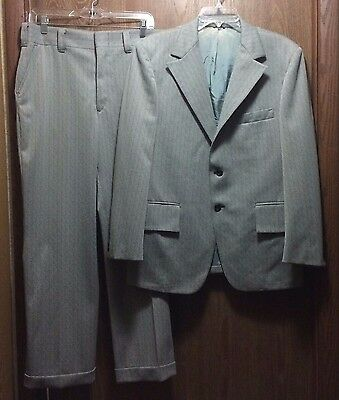 Retro Polyester Vintage 1960's - 70's 2 Pc Knit Suit Gray/red/black Striped