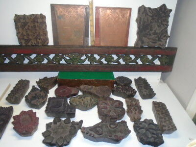 20 Antique Vint. Indian Textile Printing Block Stamps Hand Carved +2