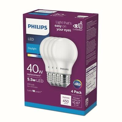 Phillips 461160 5 Watt A19 Frosted Daylight LED Non-Dimmable Light Bulb 16 Count
