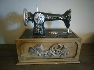 Vintage Singer Replica Sewing Machine Wooden Sewing Supplies Box