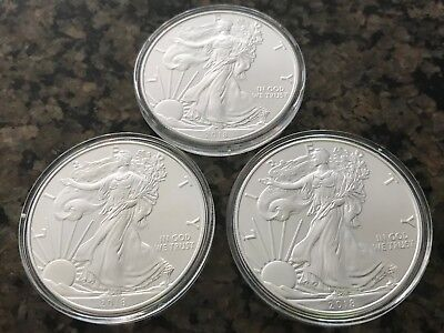 Lot of 3 - 2018 One Troy Oz .999 Fine Silver American Eagle Coins BU