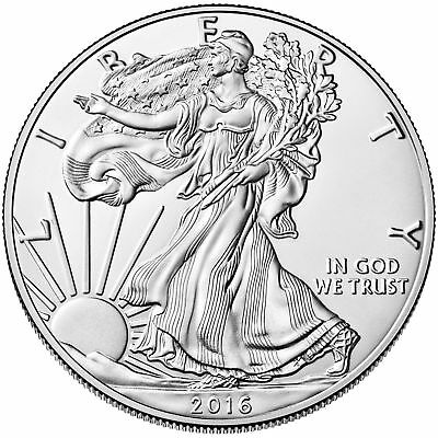 Lot of 5 - 2016 One Troy Oz .999 Fine Silver American Eagle Coins BU