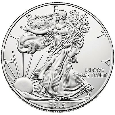 Lot of 5 - 2015   One Troy Oz .999 Fine Silver American Eagle Coins BU