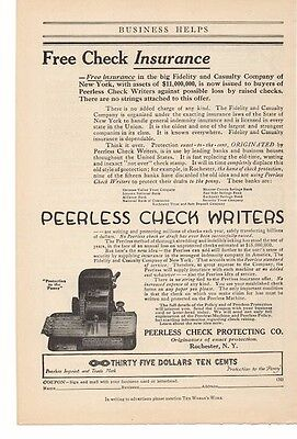 1914 Peerless Check Writers - Peerless Check Protecting Co. Advertisement