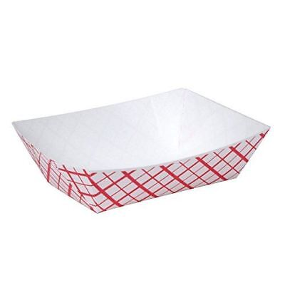 A World Of Deals #25 Paperboard Red Check Food Tray, 1/4-lb Capacity (Pack of 25