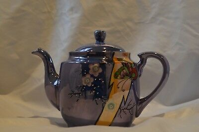Japanese Antique Satsuma Ceramic Light Blue Medium Sized Teapot
