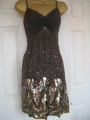 BN Karen Millen Grey & gold bronze sequin Silk Dress Sz 8 12