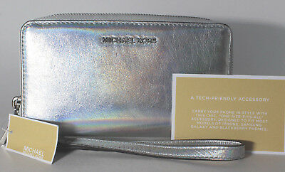 0f5a9edd216be Michael Kors Wristlets Large Flat MultiFunction Phone Case Wallet Silver  Leather