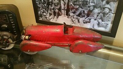 Antique 1930s Red Airflow Toy Race Car with Headlights