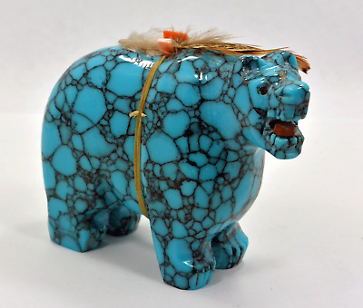 Hand Carved Turquoise Fetish Bear carving Native American Navajo Ben Livingston