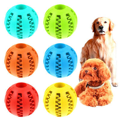 Pets Dog Puppy Cat Chew Ball Rubber Toy Treat Dispensing Holder  Training Dental