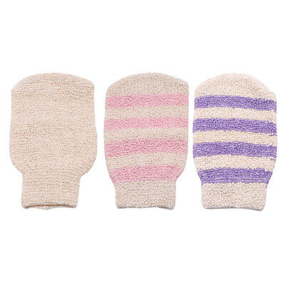 Exfoliating Body Scrub Gloves Shower Bath Mitt Loofah Skin Massage Sponge Spa Z