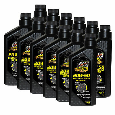 Champion Racing Performance Motor Oil 20W-50 Synthetic Blend Motor Oil 12 Quarts