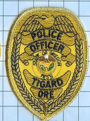 Police Patch Embroidered Mini-Patch  - Oregon - Police Officer Tigaro
