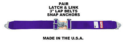 """DUNE BUGGY NEW PAIR 3/"""" LATCH /& LINK LAP BELT 2 POINT RACING BELT SNAP IN GRAY"""