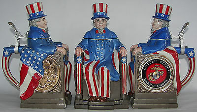 Marine Corps Uncle Sam character beer stein