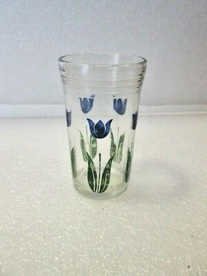 VINTAGE Painted Tulip JUICE GLASS BLUE KRAFT Swanky Swigs MID CENTURY