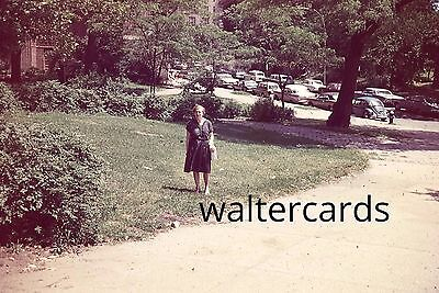 35mm Slide 1960s 1969 Older woman dress fashion lots of cars parked on street