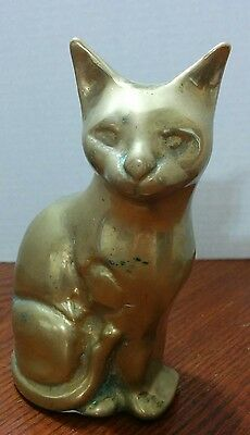 Vintage Solid Cast Brass Small Cat Figurine Paperweight 6""