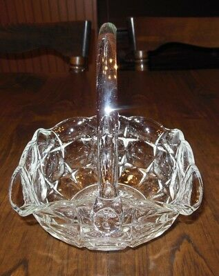 Vintage Clear Crystal Glass Basket Square with Applied Handle
