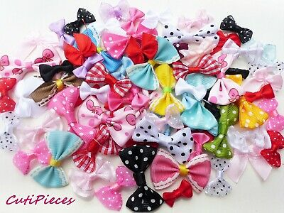 Craft Baby Pink Satin Effect Pre-Tied Ribbon Bows Girls 3cm Embellishments BT3