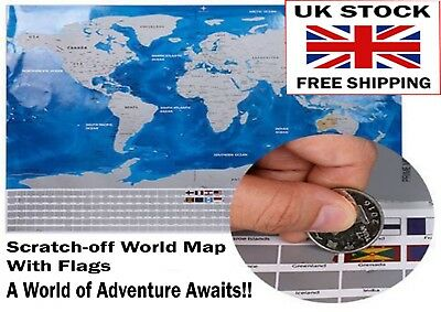 Scratch Off World Map Blue Ocean Travel Poster Flags Large Edition UK Stock