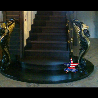 Gryphon Black gilding for stairs Wood Carved sculpture statue figure decor art