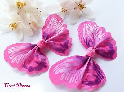 Craft Pink Butterfly Satin Grosgrain Pre-Tied Ribbon Girls Bow Embellishment BT4