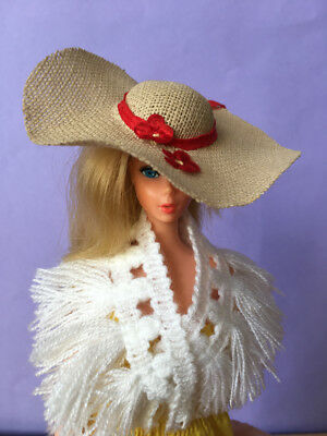 REDUCED Vintage Barbie doll size wide straw sun hat red ribbon flower SHIMMYSHIM