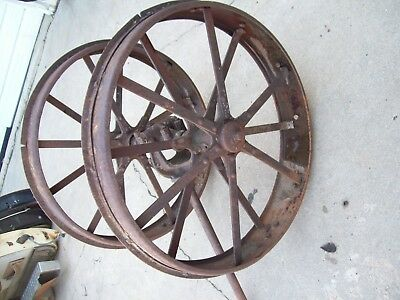 Vintage Pair International Harvester Steel Wheels Steampunk Art Man Cave