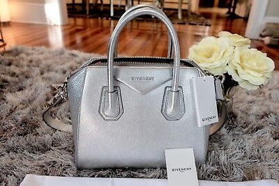 df671a83e80 NWT AUTHENTIC GIVENCHY Small Antigona Silver Leather Satchel Dust Bag