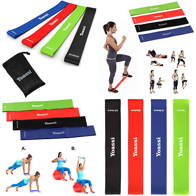 """Resistance Bands Set Exercise Thicker Workout Stretch 12"""" Premium Kit For Legs B"""
