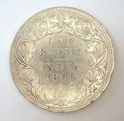 British India  1900  One Rupee Silver Coin  - Nice Condition