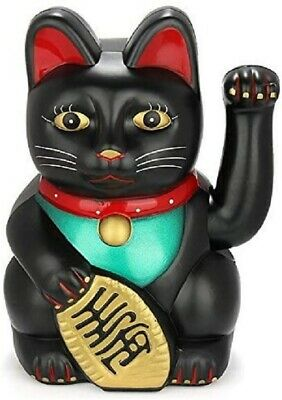 "Feng Shui  BECKONING CAT Wealth Lucky Waving Kitty Maneki Neko 6"" Tall BLACK"