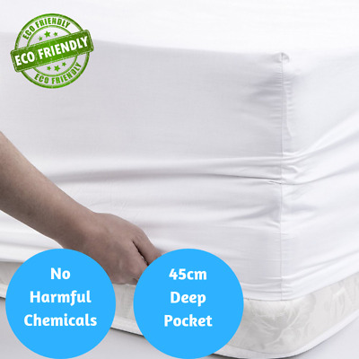 100% Organic Bamboo Fitted Bed Sheet w 45cm Deep Pockets 400 TC 1000 TC