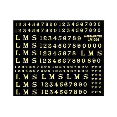Gold on white Letters & Numbers Decals for LMS - Modelmaster MMLM004 L1