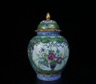 Chinese Exquisite Handmade Flower pattern porcelain Tea caddy