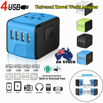 Perfect 4USB Universal Travel World Adapter Charger Cover 150Countries AU US EU