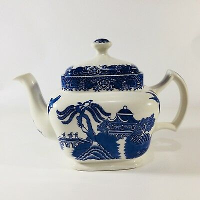 VINTAGE Blue Willow Teapot, Woods Ware, Square, Exc. Condition