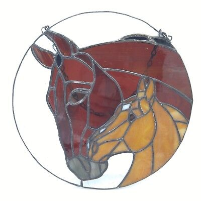 """Stained Glass Horse and Foal Sun Catcher Window Hanging - 9"""" Diameter"""