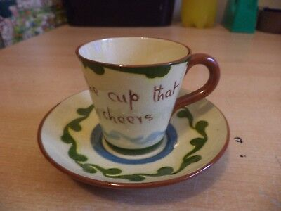 OLD VINTAGE WATCOMBE TORQUAY ? ART MOTTO POTTERY WARE small tea CUP & SAUCER
