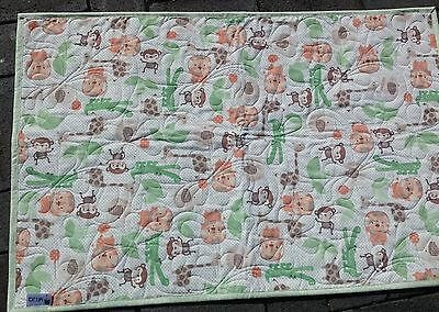 Handmade Bassinet, stroller play mat  cotton quilt JUNGLE ANIMALS greens/apricot