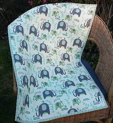 Handmade Bassinet, stroller, play mat  cotton quilt  grey elephants on aqua