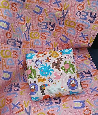 Handmade Bassinet stroller play mat cotton quilt reversible animals and alphabet