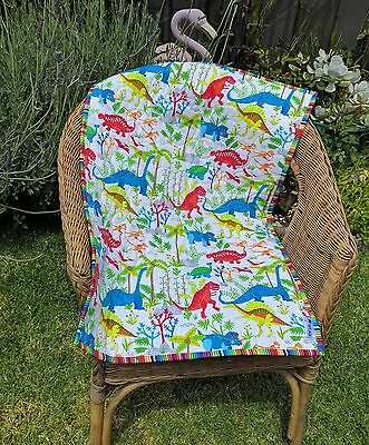Handmade Bassinet, stroller, play mat  cotton quilt  bright dinosaurs