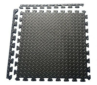 60cm Interlocking Puzzle Mat Soft EVA Foam Tiles Play Carpet Home Floor Black